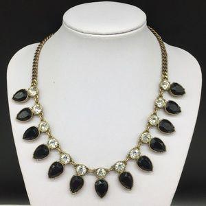 J CREW Black & Clear Rhinestone Necklace JCREW